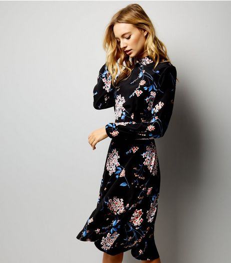 Black Black Floral Print Funnel Neck Midi Dress | New Look