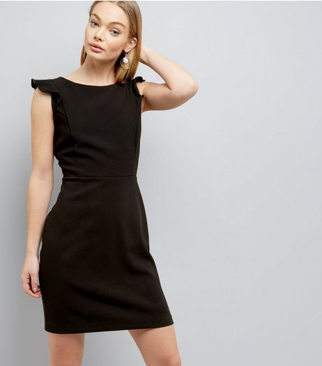 Black Frill Trim Shoulder Dress | New Look