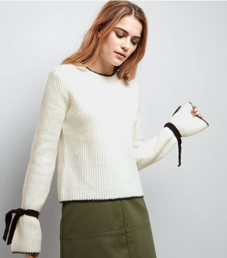 White Contrast Trim Tie Sleeve Jumper  | New Look