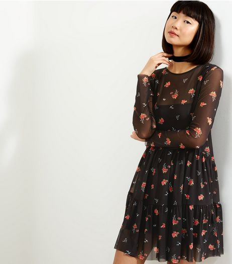 Black Ditsy Floral Layered Mesh Dress | New Look