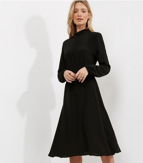 Black Funnel Neck Long Sleeve Midi Dress  | New Look