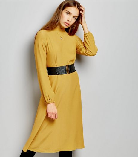 Yellow Funnel Neck Long Sleeve Midi Dress | New Look