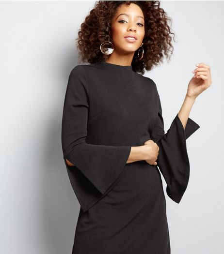 Black Split Sleeve Tunic Dress | New Look