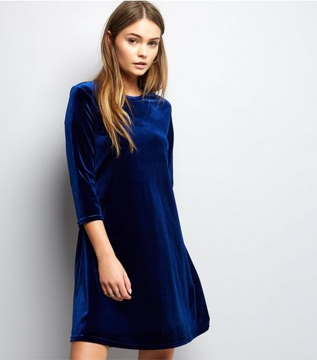 Navy Velvet 3/4 Sleeve Swing Dress  | New Look