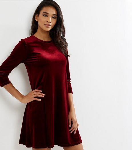 Burgundy Velvet 3/4 Sleeve Swing Dress | New Look