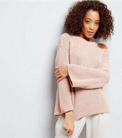 Lilac Single Cold Shoulder Flare Sleeve Jumper | New Look