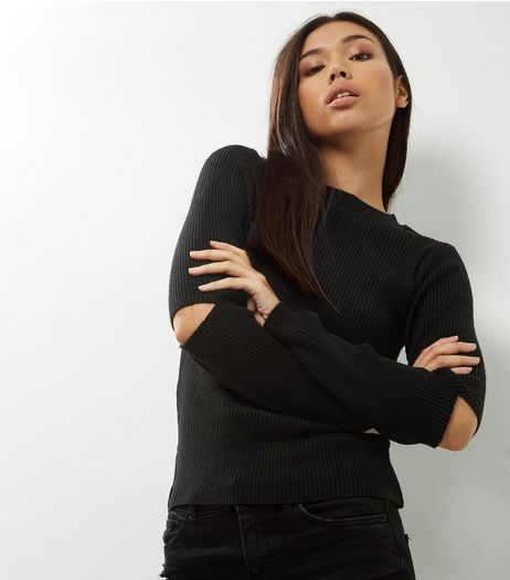 Black Cut Out Sleeve Ribbed Jumper | New Look