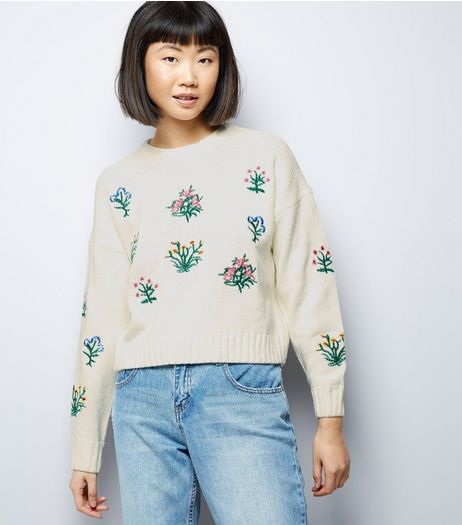 Cream Floral Embroidered Cropped Jumper | New Look
