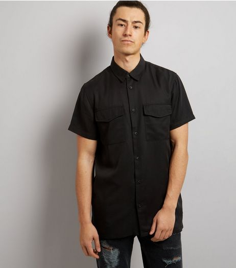 Black Short Sleeve Utility Shirt | New Look