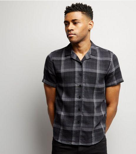 Black Check Short Sleeve Shirt  | New Look