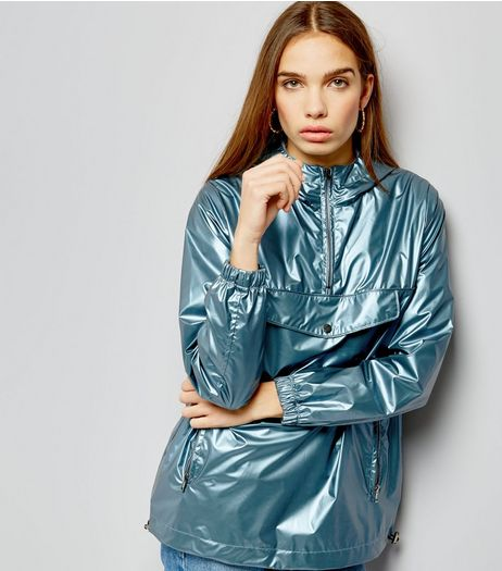 Blue Metallic Over Head Anorak  | New Look