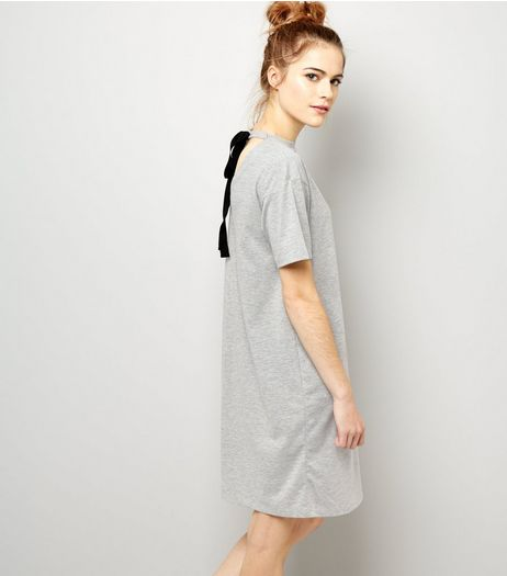 Grey Tie Back T-Shirt Dress | New Look