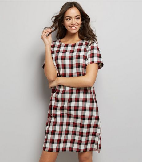 White Check Short Sleeve Woven Tunic Dress  | New Look