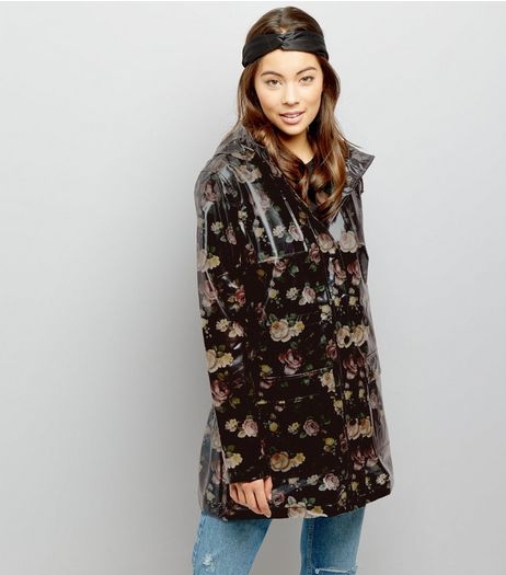 Black Floral Print Anorak  | New Look
