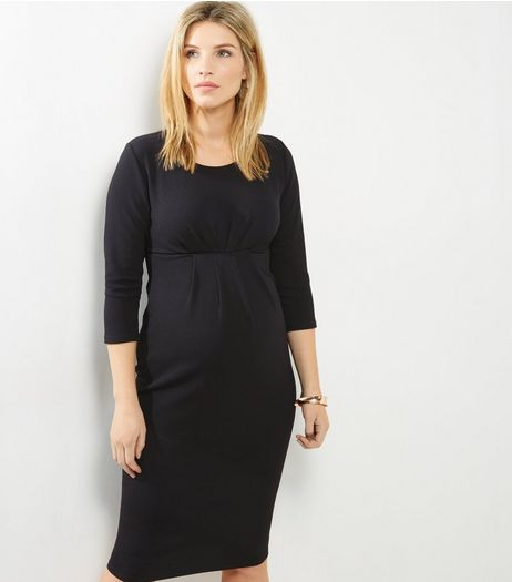 Maternity Black 3/4 Sleeve Midi Dress  | New Look
