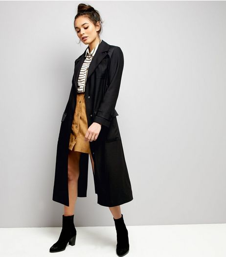 Black Belted Military Duster Coat  | New Look