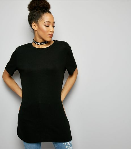 Tall Black Side Split Tunic | New Look