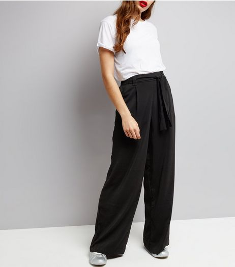 Tall Black Tie Waist Wide Leg Trousers | New Look
