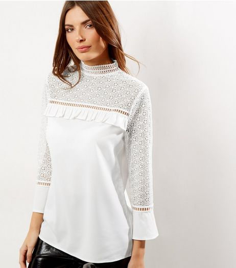 Tall Cream Lace Panel Frill Trim Top | New Look