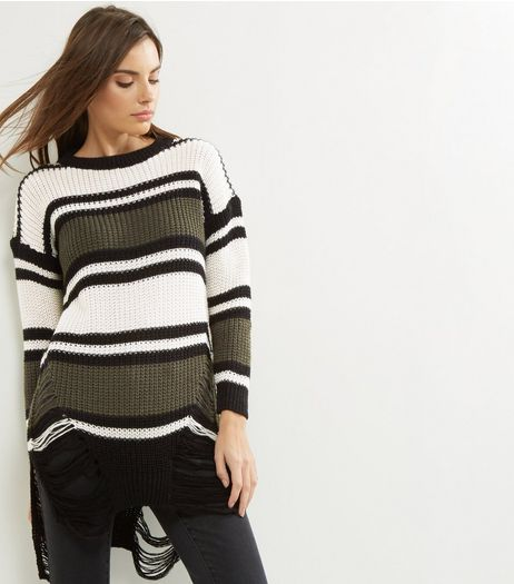 Loving This Green Stripe Ladder Hem Jumper  | New Look