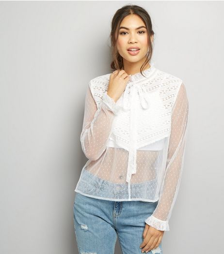 Blue Vanilla Cream Sheer Lace Panel High Neck Top  | New Look