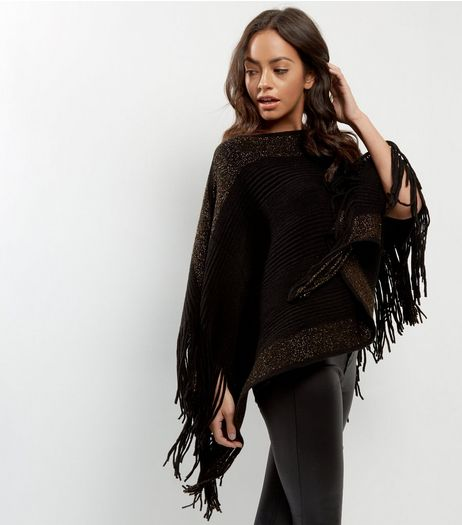 Blue Vanilla Black Ribbed Metallic Trim Poncho  | New Look