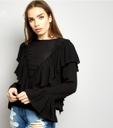 Blue Vanilla Black Frill Trim Blouse  | New Look