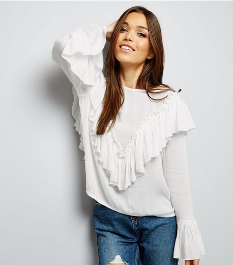 Blue Vanilla Cream Frill Trim Bell Sleeve Blouse | New Look