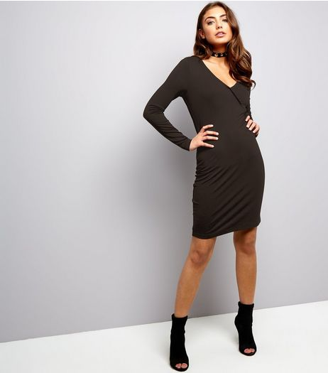 Black Jersey Wrap Front Long Sleeve Bodycon Dress | New Look