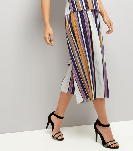 Blue Vanilla Stripe Wide Leg Trousers  | New Look