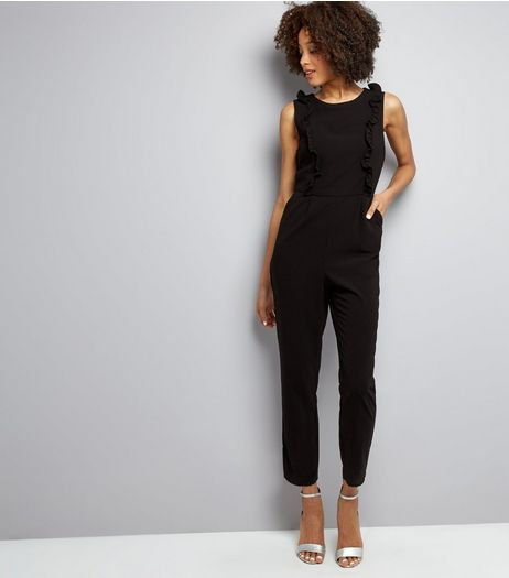 Black Frill Trim Sleeveless Jumpsuit  | New Look