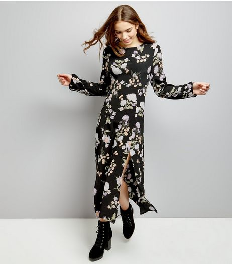 Black Floral Print Button Cuff Split Hem Tea Dress  | New Look