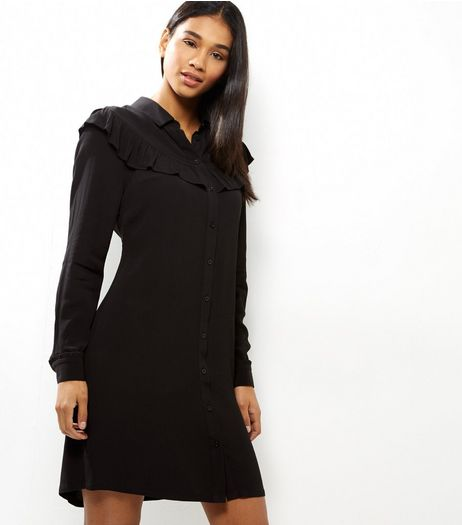 Black Frill Trim Long Sleeve Shirt Dress | New Look