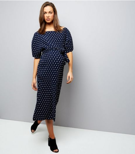 Maternity Navy Spot Print Pleated Shift Dress  | New Look