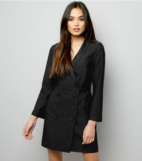 Black Double Breasted Tuxedo Dress | New Look