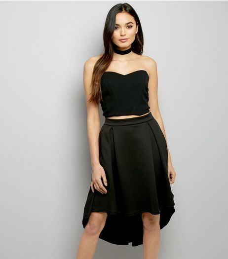 Black Scuba Dip Hem Skirt  | New Look