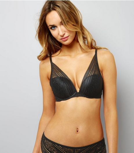 Black Linear Lace Plunge Bra | New Look