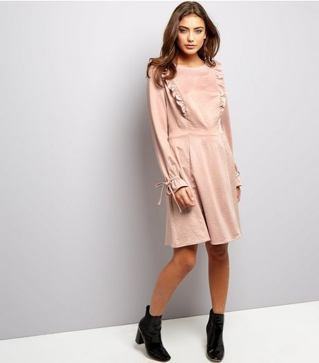 Mid Pink Sateen Frill Trim Skater Dress | New Look