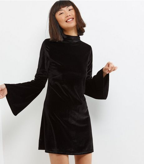 Blue Vanilla Black Velvet Bell Sleeve Swing Dress | New Look