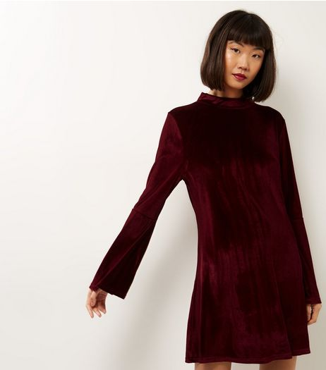Blue Vanilla Burgundy Funnel Neck Velvet Swing Dress | New Look