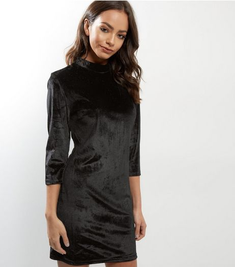 Blue Vanilla Black Velvet Glitter Dress | New Look