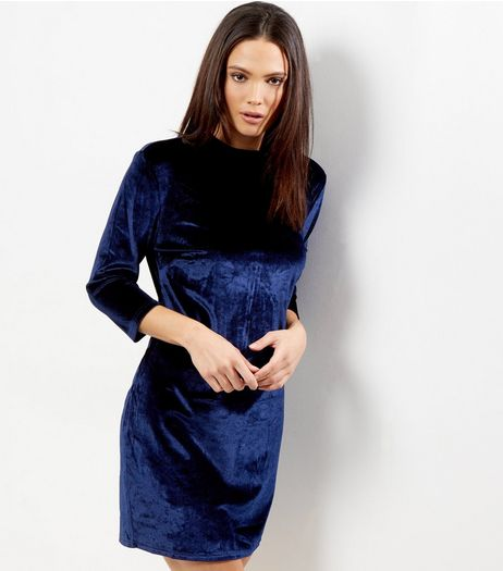Blue Vanilla Navy Velvet Glitter Dress | New Look