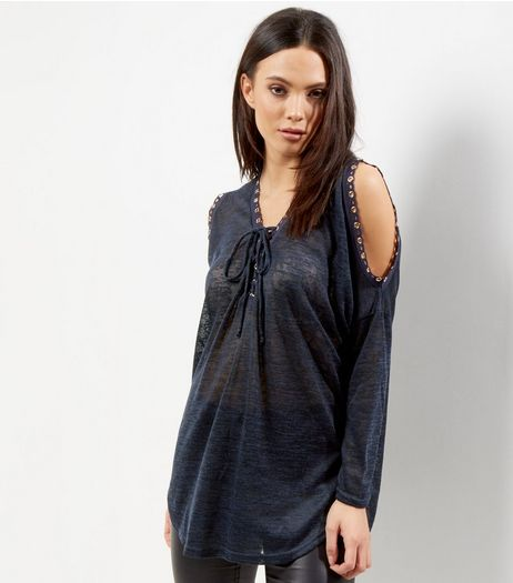 Blue Vanilla Navy Lace Up Cold Shoulder Top  | New Look