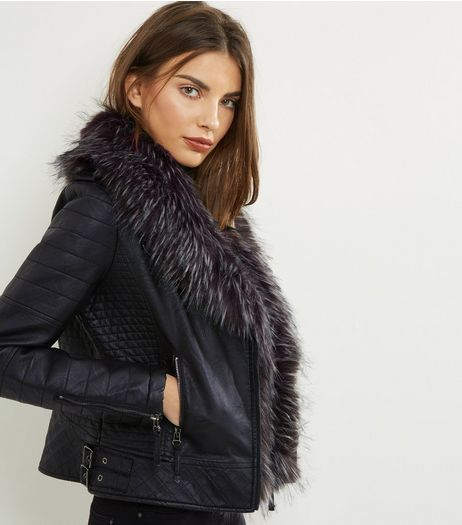 Blue Vanilla Black Faux Fur Trim Jacket  | New Look