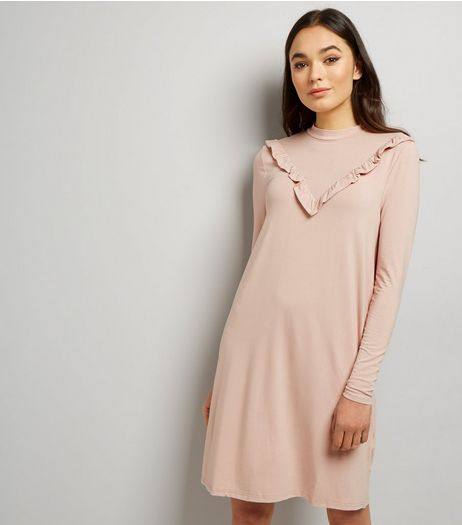 Mid Pink Frill Trim Jersey Dress | New Look