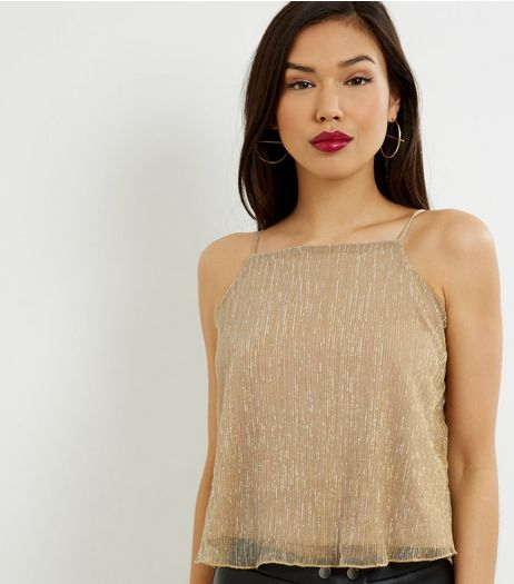Blue Vanilla Gold Metallic Cami  | New Look