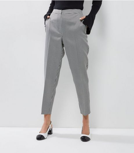 Black Dogtooth Print Slim Leg Trousers | New Look