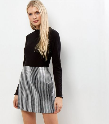 Black Houndstooth Check Mini Skirt  | New Look