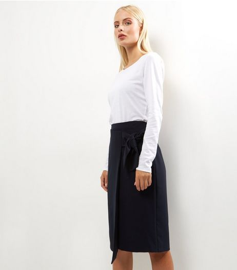 Navy Tie Front Midi Pencil Skirt  | New Look