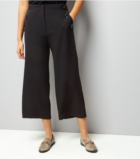 Black Button Trim Wide Leg Cropped Trousers  | New Look